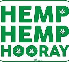 Hemp Hemp Hooray Green White by LGdesigns