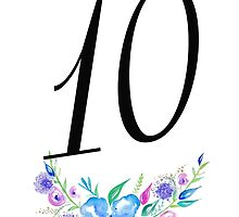 Number 10 with Watercolour Flowers by BbArtworx