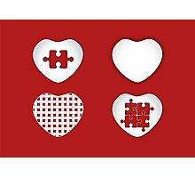 Love Heart Poster - Solid, Knitted & Puzzled Hearts Photographic Print