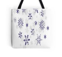 Blue and White Holiday Snowflakes Tote Bag