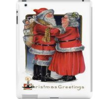 Vintage Christmas Greetings from Mr and Mrs Claus iPad Case/Skin