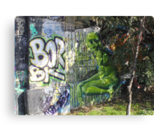 Green Fantasy Alien Hiding Behind A Bush Canvas Print