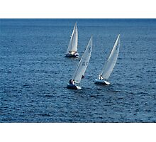 Into The Wind - Crisp White Sails On a Caribbean Blue Photographic Print