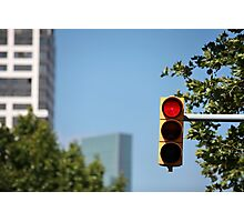 red traffic light Photographic Print