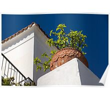 Contemplating Mediterranean Vacations - Red Tile Roofs and Terracotta Flowerpots Poster