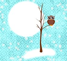 winter night and owl on tree by studenna