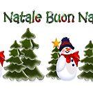 Snowman Winter Scene Buon Natale Coffee Mug by Linda Allan