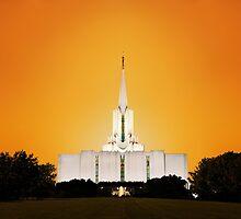 Jordan River Temple Orange Sunset 20x30 by Ken Fortie