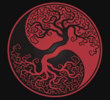 Red and Black Tree of Life Yin Yang T-Shirt