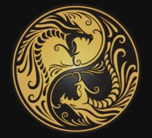Yin Yang Dragons Yellow and Black Kids Clothes