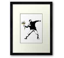 Banksy - Flower thrower (with white outline for dark t-shirts) Framed Print