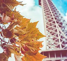 Retro Eiffel Tower In The Fall by mrdoomits