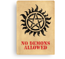 Supernatural - No Demons Allowed [BLACK] Canvas Print