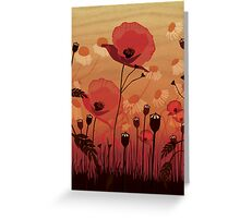 Poppies on woodgrain Greeting Card