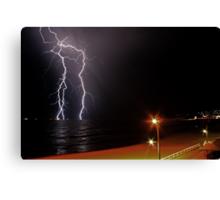 Bar Beach Lightning Canvas Print