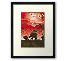Indian Elephants and monkeys Framed Print