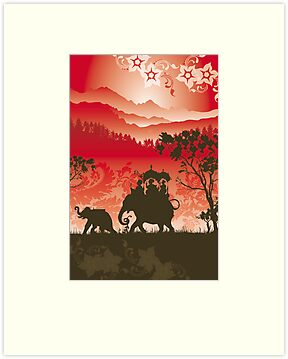 Indian Elephants and monkeys by Lara Allport