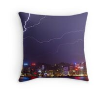 Lightning over Victoria Harbour Throw Pillow