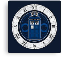 TARDIS and Clock - Doctor Who Canvas Print