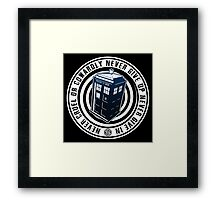 Never Cruel Or Cowardly - Doctor Who - Blue TARDIS Framed Print