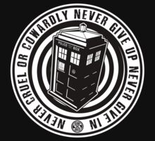 Never Cruel Or Cowardly - Doctor Who - Black TARDIS T-Shirt
