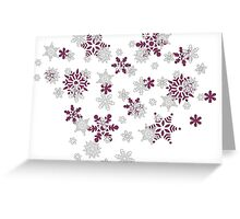 Pink and White Snowflakes With Transparent Background Greeting Card