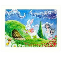 Oh dear! I shall be late! (Alice and the White Rabbit) Art Print