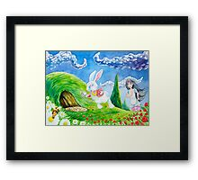 Oh dear! I shall be late! (Alice and the White Rabbit) Framed Print