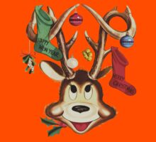 Reindeer Antlers and Christmas Stockings Greeting Cards Kids Clothes