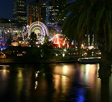Yarra River and Federation Square with Ferris wheel at night by rick strodder