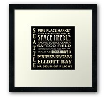 Seattle Washington Famous Landmarks Framed Print