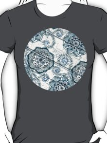 Shabby Chic Navy Blue doodles on Wood T-Shirt
