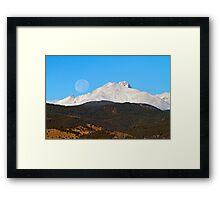 Full Moon Setting Over Snow Covered Twin Peaks  Framed Print