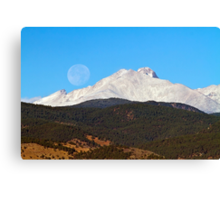 Full Moon Setting Over Snow Covered Twin Peaks  Canvas Print