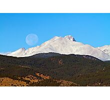 Full Moon Setting Over Snow Covered Twin Peaks  Photographic Print