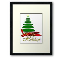 Christmas Tree with Red Ribbon Framed Print