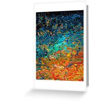 ETERNAL TIDE 2 Bold Rainbow Colorful Deep BlueTurquoise Aqua Orange Yellow Ombre Waves Abstract Acrylic Painting Greeting Card