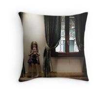 Venice curtains vs hand held video game Throw Pillow