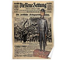 Soldier on Newspaper Collage Poster