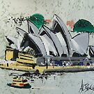Sydney Opera House - semi-abstract painting by MrCreator