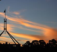 New Parliament House Canberra at Sunset by Cliff Manley