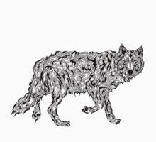 """Wolf Spirit"" - surreal tribal totem animal Kids Clothes"