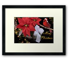 ✰。POINSETTIA AND CARDINAL CHRISTMAS PICTURE/CARD✰。 Framed Print
