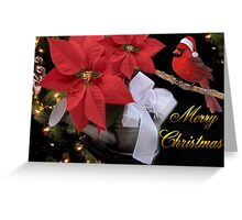 ✰。POINSETTIA AND CARDINAL CHRISTMAS PICTURE/CARD✰。 Greeting Card