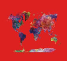World map in watercolor  Kids Clothes