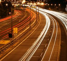 Freeway at night by Ben Campbell