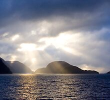 Sunset in Doubtful Sound, Fiordland, New Zealand by Bruce  Thomson