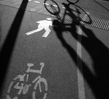 morning cyclist (black & white), Perth, Western Australia by nick page