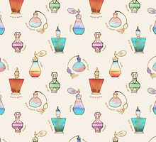 Pretty Perfumes - a pattern of vintage fragrance bottles by Perrin Le Feuvre
