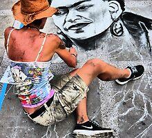 frida kahlo - sidewalk art  by Bernhard Matejka